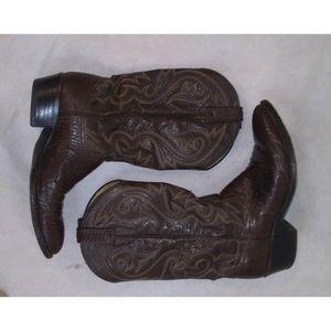 DAN POST Men's Lizard Leather Brown Cowboy Boots 9